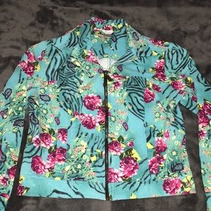 90's jean jacket zebra roses Medium